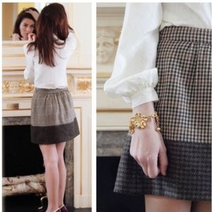 J. Crew wool colorblock houndstooth mini skirt